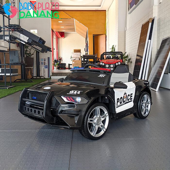 Xe hơi điện cảnh sát cho bé ghế da BBH-0007 1