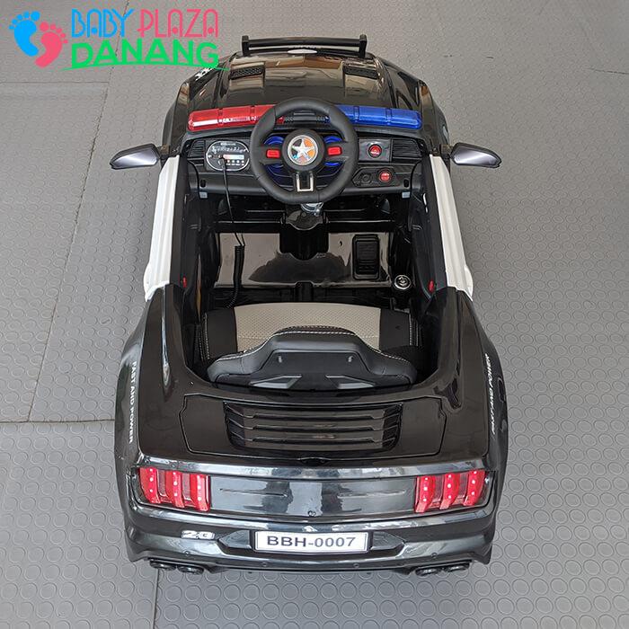 Xe hơi điện cảnh sát cho bé ghế da BBH-0007 10