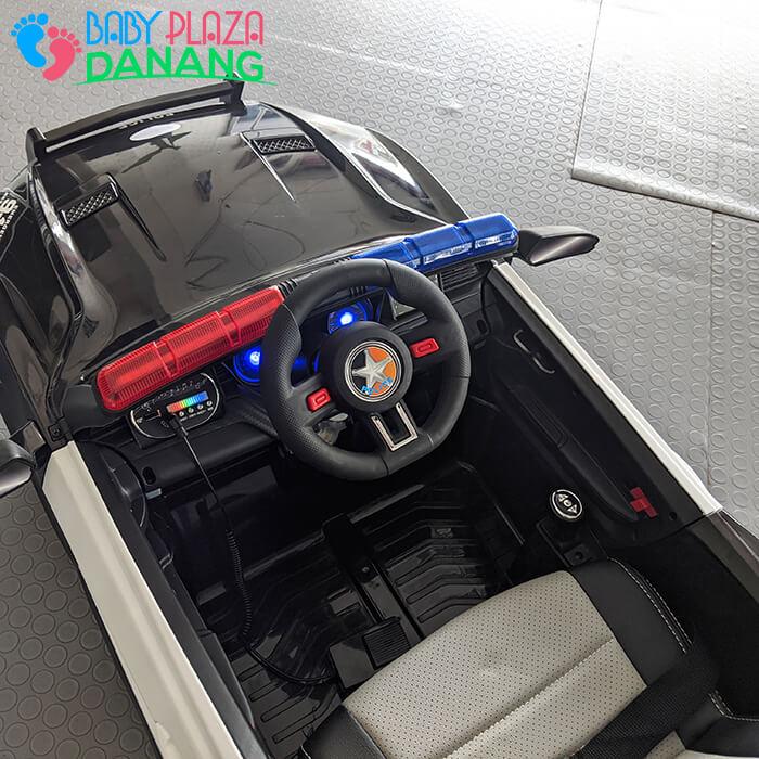 Xe hơi điện cảnh sát cho bé ghế da BBH-0007 14