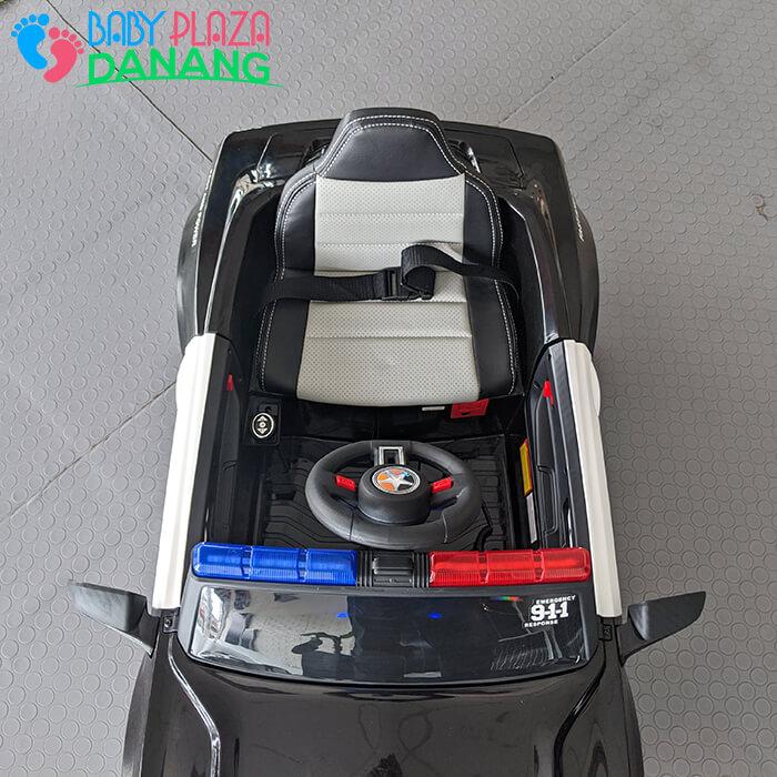 Xe hơi điện cảnh sát cho bé ghế da BBH-0007 16