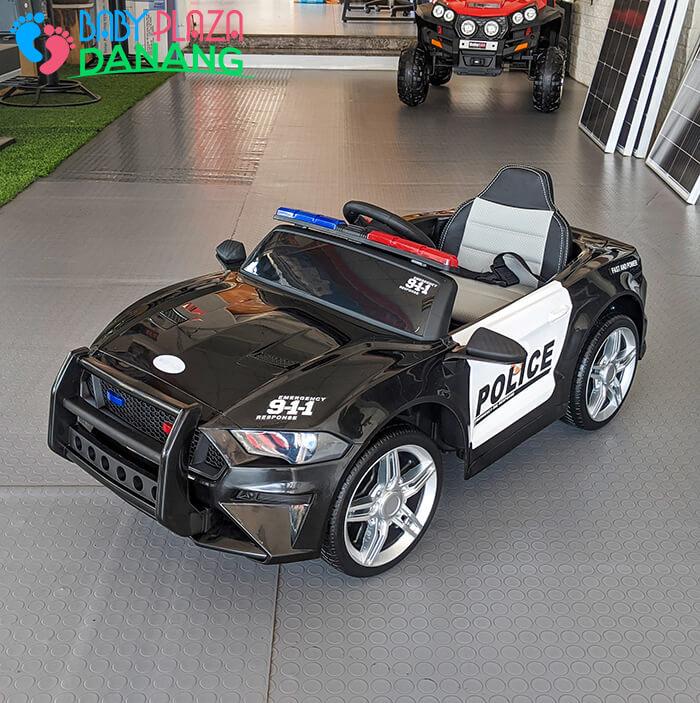 Xe hơi điện cảnh sát cho bé ghế da BBH-0007 2