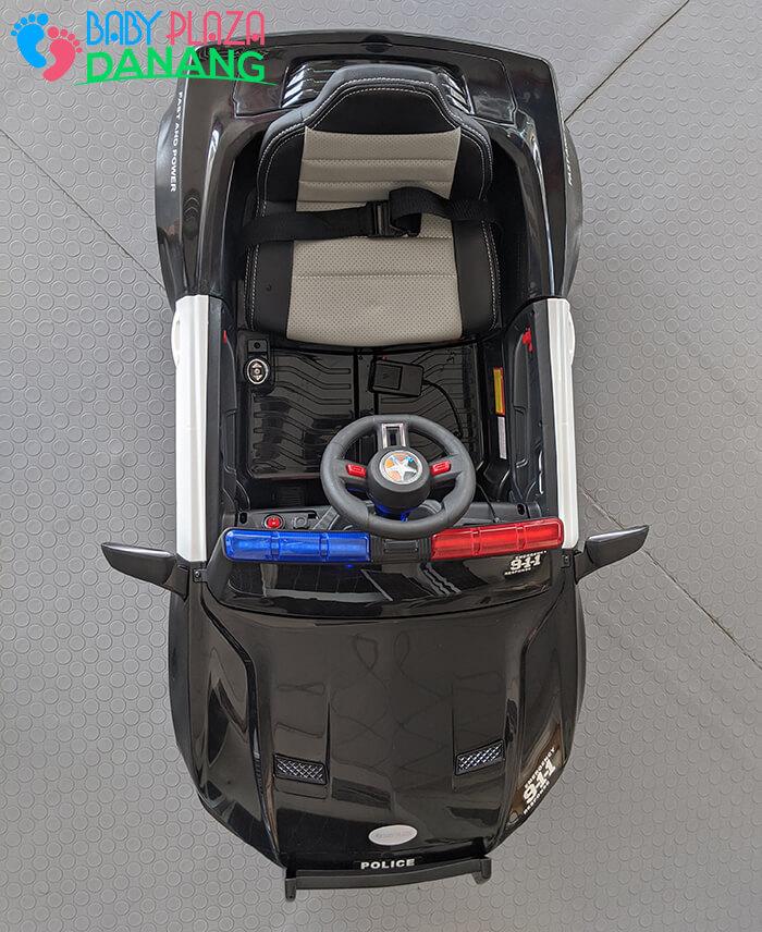 Xe hơi điện cảnh sát cho bé ghế da BBH-0007 5