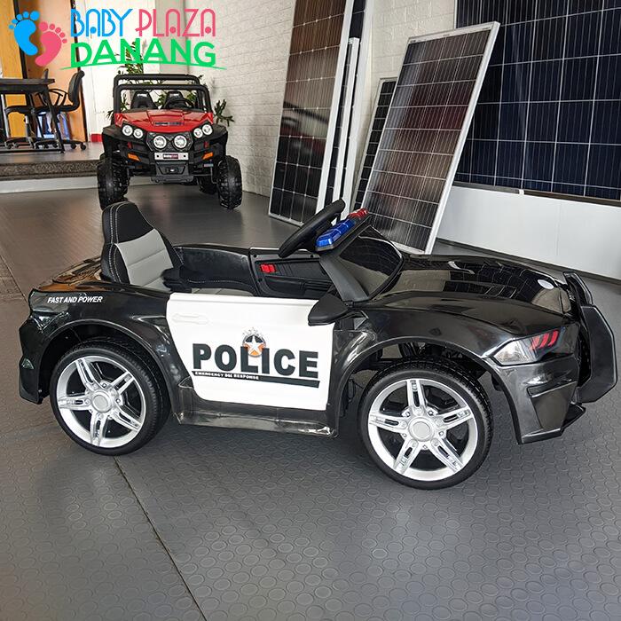 Xe hơi điện cảnh sát cho bé ghế da BBH-0007 6