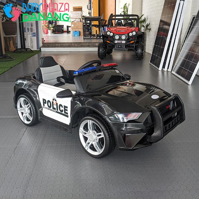 Xe hơi điện cảnh sát cho bé ghế da BBH-0007 7