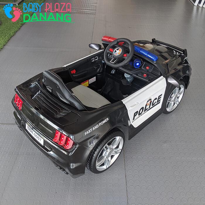 Xe hơi điện cảnh sát cho bé ghế da BBH-0007 8